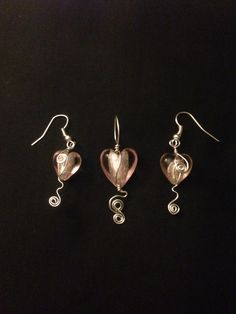 Metallic pink hearts a pendant and matching earring set I made for a birthday present