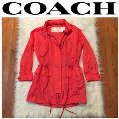 Coach Pink Nylon Windbreaker Jacket SMALL B1-18-SGW16 - Coach Pink Nylon Windbreaker Jacket SMALL - Brand / Description: SMALL Coach Pink Nylon Windbreaker Jacket – Approx. Measurements: Length: 33.5; Shoulder Width: 16.5 ; Chest/Bust: 45; Waist: 41; Sleeve Length: 22.5 Coach Jackets & Coats