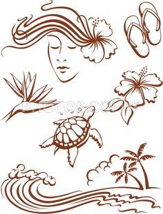 Stock Illustrations: 6 Icons Or Symbols Of Hawaiian Themes.