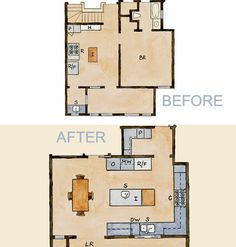 Exceptional Before And After Kitchen Floor Plans