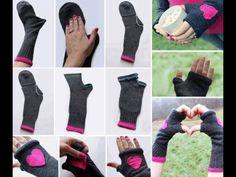 Fingerless gloves from socks DIY