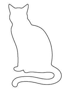 Sitting cat pattern. Use the printable outline for crafts, creating stencils, scrapbooking, and more. Free PDF template to download and print at http://patternuniverse.com/download/sitting-cat-pattern/