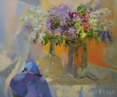 Large still life painting flowers canvas art floral by Pysar