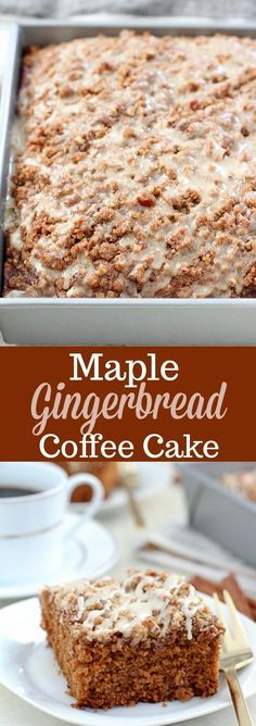 Maple Gingerbread Coffee Cake - Tender spiced Gingerbread Cake topped with a brown sugar pecan streusel and maple icing. The perfect coffee cake for breakfast or dessert. Holiday flavors in every bite! #cake #coffee #gingerbread #holidayrecipes #SavorHolidayFlavors [ad]