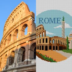 #Rome wasn't built in a day. We don't expect you to finish this ornament before #Christmas. 🎄🎄 This Rome #Italy Christmas #ornamentcanvas features: the historic Colosseum, St. Peter's Basilica, and Trajan's Column. ⛪