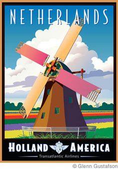 The Netherlands, Holland America travel poster