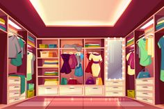 Spacious walk in closet or dressing room full of women clothes cartoon vector interior. Dresses hanging on hangers, bags and boxes with footwear on wardrobe shelves and illuminated mirror illustration clothes Scenery Background, Living Room Background, Cartoon Background, 2d Game Background, Anime Backgrounds Wallpapers, Anime Scenery Wallpaper, Episode Interactive Backgrounds, Episode Backgrounds, Casa Anime