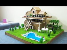 Building Popsicle Stick Garden Villa House - Popsicle stick House - Architecture - YouTube