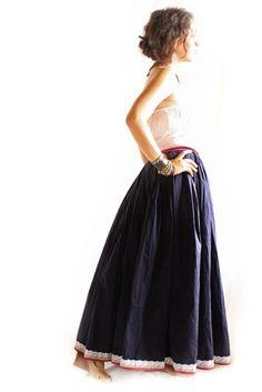 CasaAzul Romantic Mexican Maxi  Party Dress Skirt Vintage Excellent Condition Huichol Hippie Fairy chic Bohemian wedding dress circle skirt. $280.00, via Etsy.