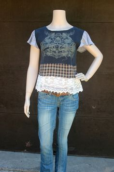 REVIVAL Upcycled Boho TShirt, Lace, Plaid, Junk Gypsy, Grunge Skater Girl, Small to Extra-Small, Recycled, Repurposed, Eco Friendly Clothing...