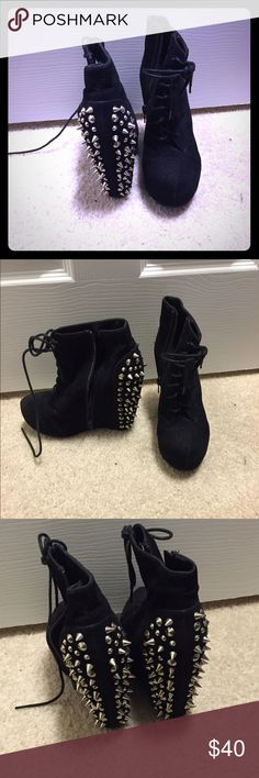 Wedges Studded wedge booties size 6 Shoes Ankle Boots & Booties