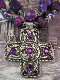 "Chunky Cowgirl Bling Necklace, ""Howlin' for You"", purple turquoise and cross nuggets, Swarovski crystals, cross pendant, unique"