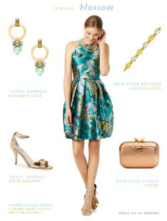 Dress for Early Spring Wedding Guests. A floral cocktail dress for early spring wedding guest attire.