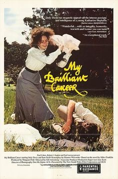 My Brilliant Career Stars: Judy Davis, Sam Neill, Wendy Hughes, Robert Grubb, Max Cullen ~ Director: Gillian Armstrong (Nominated for 1 Oscar) Paul Cohen, My Brilliant Career, Sam Neill, Becoming A Writer, Katharine Hepburn, Great Films, Vintage Movies, Movies To Watch, The Book