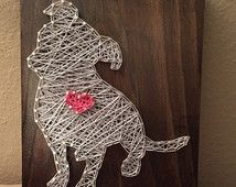 MADE TO ORDER - Pitbull with Heart String Art Wooden Board
