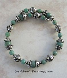 Sterling Silver and Jade beaded memory wire bracelet 10.4