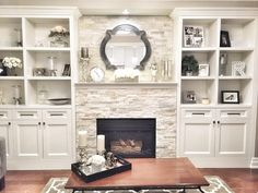 Living Room with Fireplace That Will Warm your Home – Fireplace tile ideas Fireplace Built Ins, Home Fireplace, Fireplace Remodel, Living Room With Fireplace, Fireplace Design, Modern Fireplace, Brick Fireplace, Fireplace With Bookshelves, Fireplace With Cabinets
