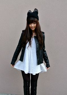 Black horn studded beanie, white baby doll dress, black leather jacket  #black #jacket #girl #asian #outfit #fashion #white #dress #cute #winter #warm