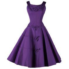 Purple faille cocktail dress, Suzy Perette, 1950's.