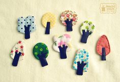 Little tree brooches   Flickr - Photo Sharing! just the image but would be so cute to make for some sort of quiet book page