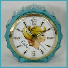 Very RARE Vintage Blue Swirl Barbie 1964 Starbright Boudoir Alarm Clock Works…
