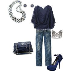 Love the whole thing, especially pairing the lacy top with jeans, but omg...the shoes...GORGEOUS.