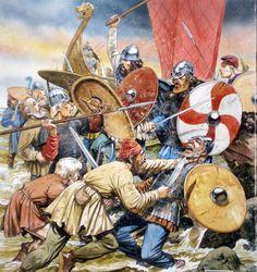 Viking raiders in melee combat against Frank villagers