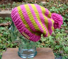 READY TO SHIP: Funky Fun Striped Slouchy Pom Hat in Raspberry and Lemongrass by BeehiveCreation on Etsy Knitted Hats, Crochet Hats, Pom Pom Hat, Beehive, Lemon Grass, Raspberry, Trending Outfits, Ship, Unique Jewelry