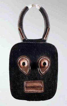 Africa| A kple-ple (Buffalo) mask from the Baule people of the Ivory Coast | Wood with pigment, metal