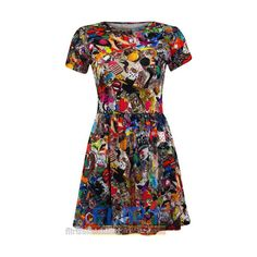 Womens Skater Dress Graffity Tattoo Turn Up Sleeve Tunic Top... - Polyvore