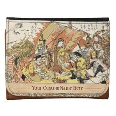 The Seven Gods Good Fortune in the Treasure Boat Leather Wallets #gift #accessory #gods #fortune #treasure #boat #legend #myth #Japan #japanese #oriental #art #classic #vintage