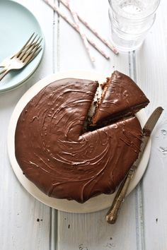 Chocolate cake with mascarpone coffee cream and chocolate ganache.