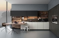 Với tông màu xám và trắng kem đem lại cho phòng bếp cảm giác êm dịu hoàn hảo