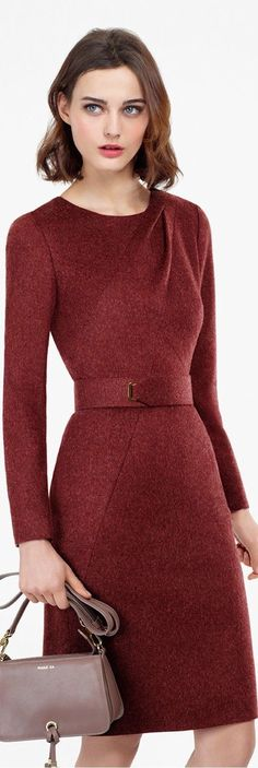 Knee length, high neck, dress, wool, midi, pleats, belt, asymmetric