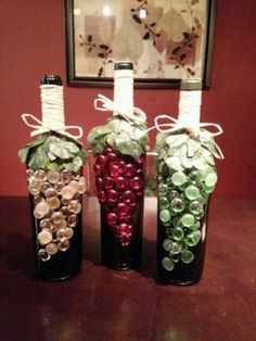 Decorated wine bottles I absolutely love this idea and God knows I have wine bottles!
