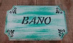 Cartel para el baño pintado a mano