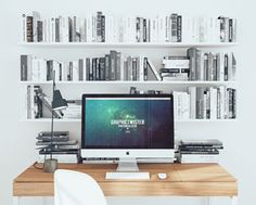 New Office Workspace Mockup PSD with Books. You can use the mockup to show case your design or presentation on iMac screen paper with photorealistic effect. Add your image inside the smart object and enjoy you work. Password you can get on Facebook page.     Details: Format: Layered PSD Smart Objects: Yes  Dimensions: 2500×2000 px Minimum Photoshop