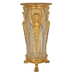 French century Empire period ormolu and Baccarat crystal vase 1 Baccarat Crystal, Crystal Glassware, Crystal Vase, Cut Glass, Glass Art, Antique Furniture Stores, Vases For Sale, Urn Vase, Bottle Vase