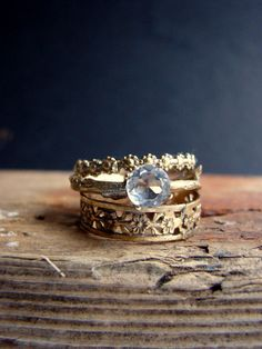 Gold Plated Stack Rings White Topaz Floral Sterling by Nafsika