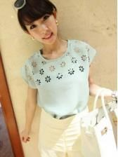 Loose batwing sleeve chiffon hollow out flowers shirt