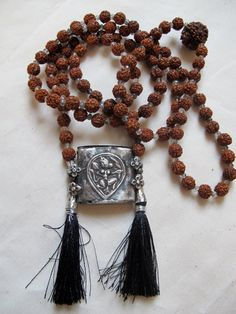 Rudraksha Mala Prayer Bead Necklace with Antique Indian Silver Tribal Hanuman Amulet with  3mm Black Rutilated Quartz Beads on Etsy, $369.00
