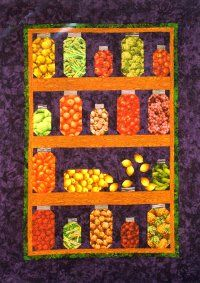 I am making this Jar Quilt. It's fun to collect fabric with fruit and vegetable patterns.