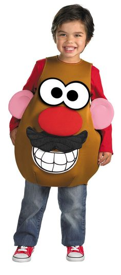 #16807 He'll be a hot potato this Halloween as Mr. Potato Head. The Mr. Potato Head Costume includes a brown, potato head overlay with attached ears. Detachable male eyes, nose, moustache, mouth, fema