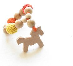Wooden baby teether toy horse by YarnyWishes on Etsy