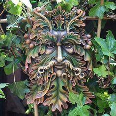 Green Man Wall Plaque Acorn Leaf Bearded Face Man Of The Forest Wood Spirit. Face Men, Male Face, John Muir, Celtic, Pagan Gods, Tree Faces, Garden Wall Art, Architecture Tattoo, Wood Sculpture
