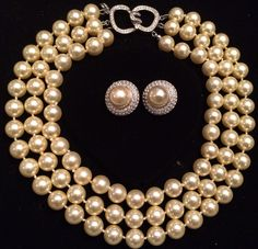Kenneth Jay Lane Triple Strand Pearl Choker Necklace & Earrings Barbara Bush in Jewelry & Watches, Vintage & Antique Jewelry, Costume | eBay