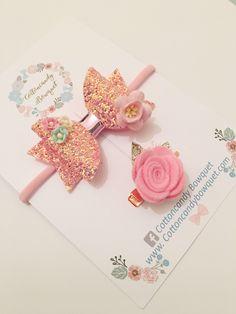 Pink Glitter Hair Bow and Rose Hair Clip Set, baby hair bow, baby headband, hair clips for girls, glitter hair bows