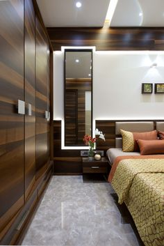 luxury Bedroom With mirror #contemporary #modern #interiordesign #bedroom #design #ideas #laminate #wardrobe