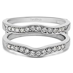 Sterling Silver Contour Shape Channel Set Enhancer Ring Guard set with Cubic Zirconia (0.48 Ct. Twt.) - http://www.loveuniquerings.com/silver-wedding-rings/sterling-silver-contour-shape-channel-set-enhancer-ring-guard-set-with-cubic-zirconia-0-48-ct-twt/