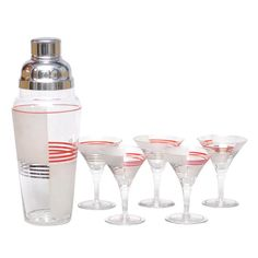 Deco Striped Cocktail Set